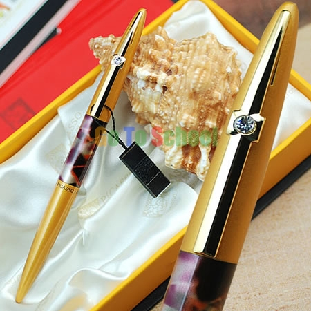 PICASSO 988 WORLD PEACE GOLDEN HOODED F NIB FOUNTAIN PEN WITH ORIGINAL BOX