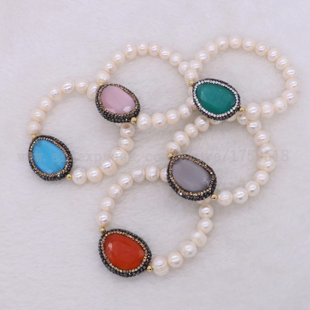 5Pcs Natural pearl bracelets with electroplated gold mix color cat eye stone connector bracelet bangle gems jewelry