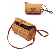 Fashion Luxury Women Bags Designer Cylindrical Hand Woven Bag Rattan bag Stitching Hollow Bag Clutch Bali Beach Holiday Handbag fashion women s clutch bag with engraving and stitching design