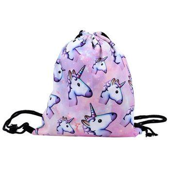 ISKYBOB 3d Printing Drawstring School Bag Cute unicorn cartoon Backpack For Women Girls bag Flowers backpack travel Shoulder Bag Men's Backpacks