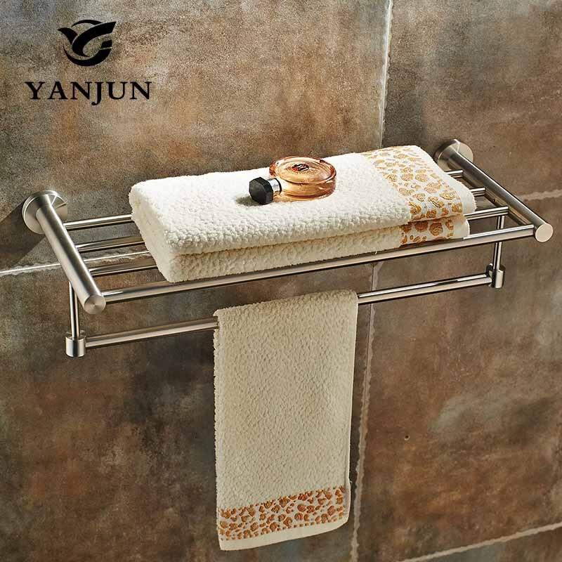 YANJUN Wall-mounted Stainless Steel 304 Towel Racks Towel Shelf Bathroom Accessories For Home YJ-7560 304 stainless steel 280 140 500mm bathroom shelf bathroom products bathroom accessories 29016