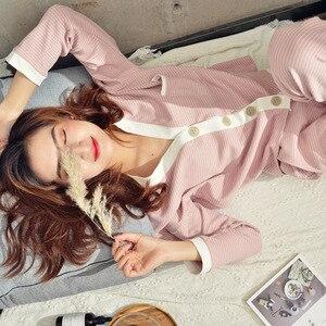 Image 3 - 2019 wiosna nowe paski do noszenia w domu z dekoltem w kształcie litery v piżamy zestaw z dzianiny bawełniane damskie piżamy wypoczynek spodnie z długimi rękawami piżamy Pj zestaw
