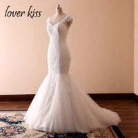 Lover Kiss Model Mermaid Lace Wedding Dress With Cap Sleeves Tulle Trail Sheer Back White Bride