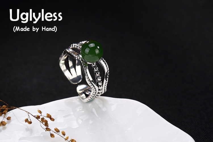 Uglyless Real 925 Sterling Silver Jewelry Natural Jasper Ball Rings Women Hollow Ethnic Opening Ring Handmade Green Jade Bijoux ethnic wind bracelets men and women decorations green agate 925 silver ball duobao string original jewelry