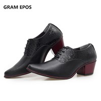 GRAM EPOS Brand Mens Height Increased Dress Oxfords Tenis Masculino High Quality Wedding Men Soft Leather