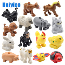 Large particles building blocks accessories farm animals zoo compatible Duplos cat pig dog rabbit monkey hippo sheep Toys gift(China)