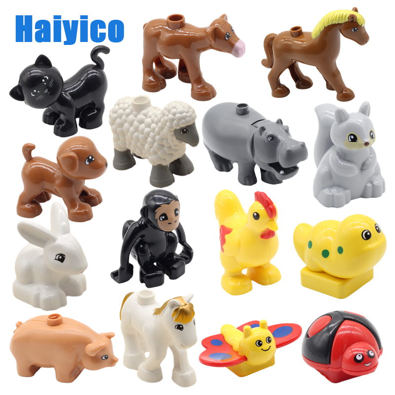 Large particles building blocks accessories farm animals zoo compatible Duplos cat pig dog rabbit monkey hippo sheep Toys gift image