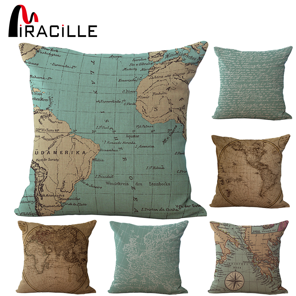 18 tommers kvadrat Vintage World Map Puter Utendørs Pute For Stoler Bedroom Decor Cotton Linen Hjem Tekstil Ingen Kjerne