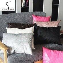 SewCrane стильная клетчатая искусственная кожа прямоугольная коричневая Подушка под поясницу черная Автомобильная подушка для офисного кресла чехол красный диван наволочка