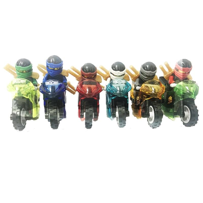 6SET/lot Decool 10029-10034 Ninjagoed Cole/Zan Kai/Lloyd/Nya Figure With Tornado Motorcycles Building Blocks Models Bricks Toys