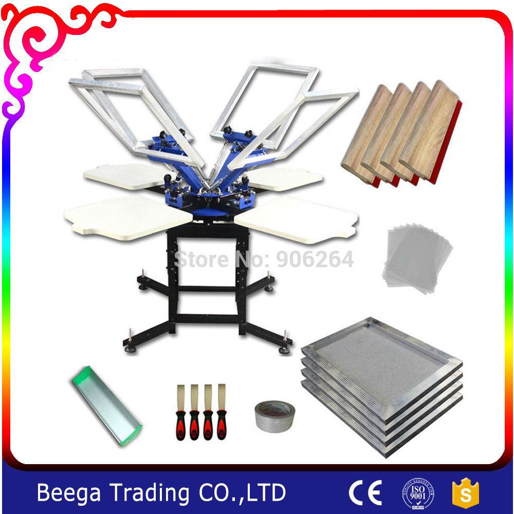 4-4 Color Screen Printing Press Tensioned Sceen Plate Squeegee Scoop Coater Kit цена 2017
