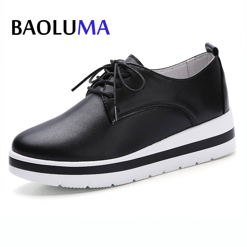 Baoluma 2018 New Women Real Leather Shoes  Loafers Soft Leisure Woman Loafers Flat Female Driving Casual Footwear Lady Shoes 2017 new leather women flats moccasins loafers wild driving women casual shoes leisure concise flat in 7 colors footwear 918w