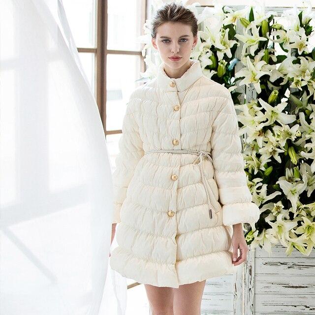 2016 nueva moda de invierno mujeres abajo cubren flare manga de la cintura ajustable mujeres down jacket parkas alta calidad mujer