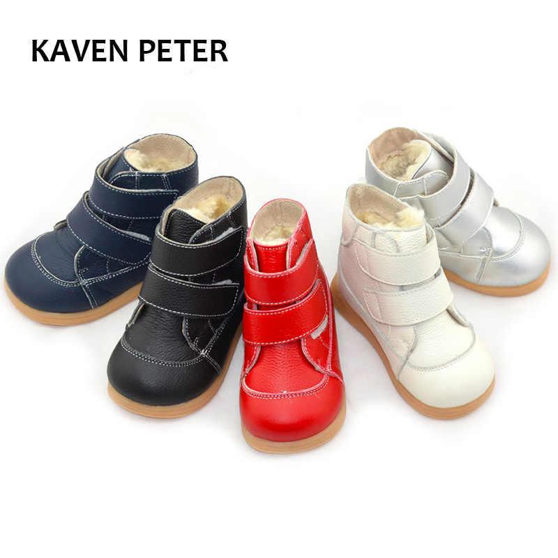 新 2018 冬の靴アンクルブーツ子供の雪のブーツ子供の冬のブーツ少年足首 Bota Ş 牛革ジム靴女の子豪華な靴