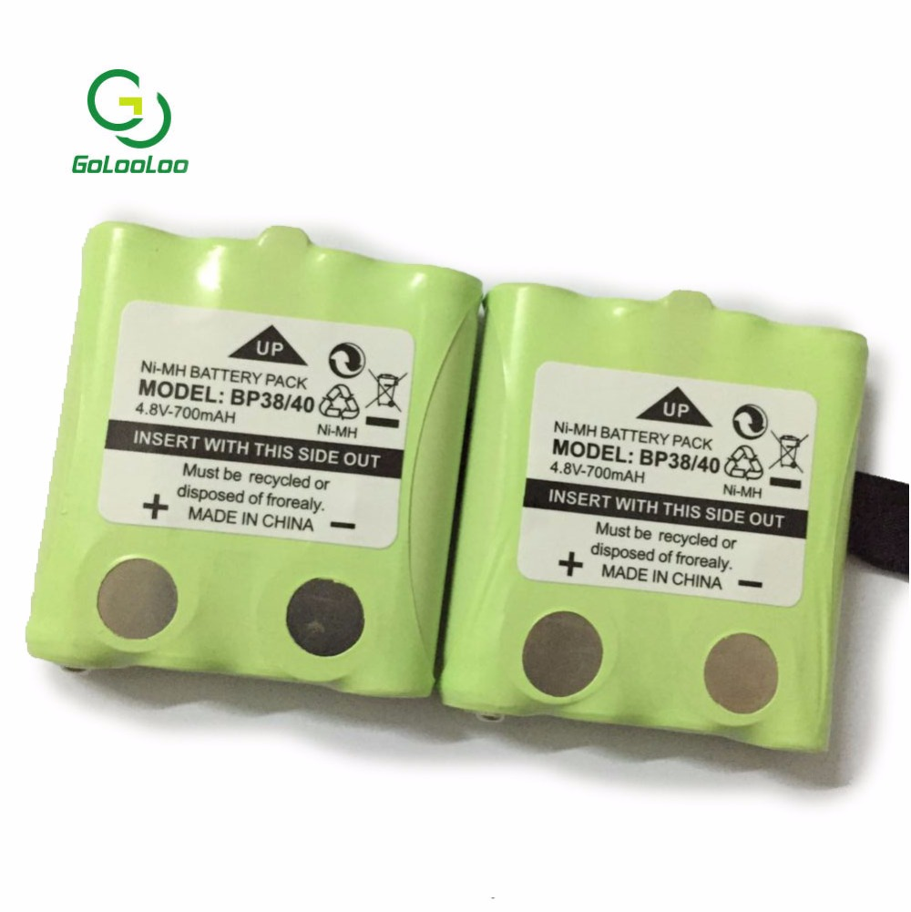 2 pcs/lot 4.8 v 700 mah Batterie rechargeable NI-MH Pour Uniden BP-38 BP-40 BT-1013 BT-537 GMR FRS 2Way Radio batteries batteria