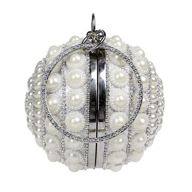 placeholder Hot Sale Round Shaped Female Clutch Bags Full Pearls Beaded  Women Evening Clutch Bag Crystal Wedding 3fb4259cd715