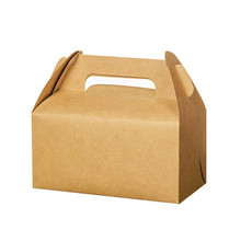 50 Pcs Kraft Paper Box With Handle Wedding Gift Muffin Packaging Party Birthday Dessert Baking Package Cookies Cupcake