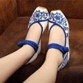 Старый Пекин обувь женская этническом стиле обувь Мэри Джейн Китай стиль Высота увеличение плоские Вышитые туфли
