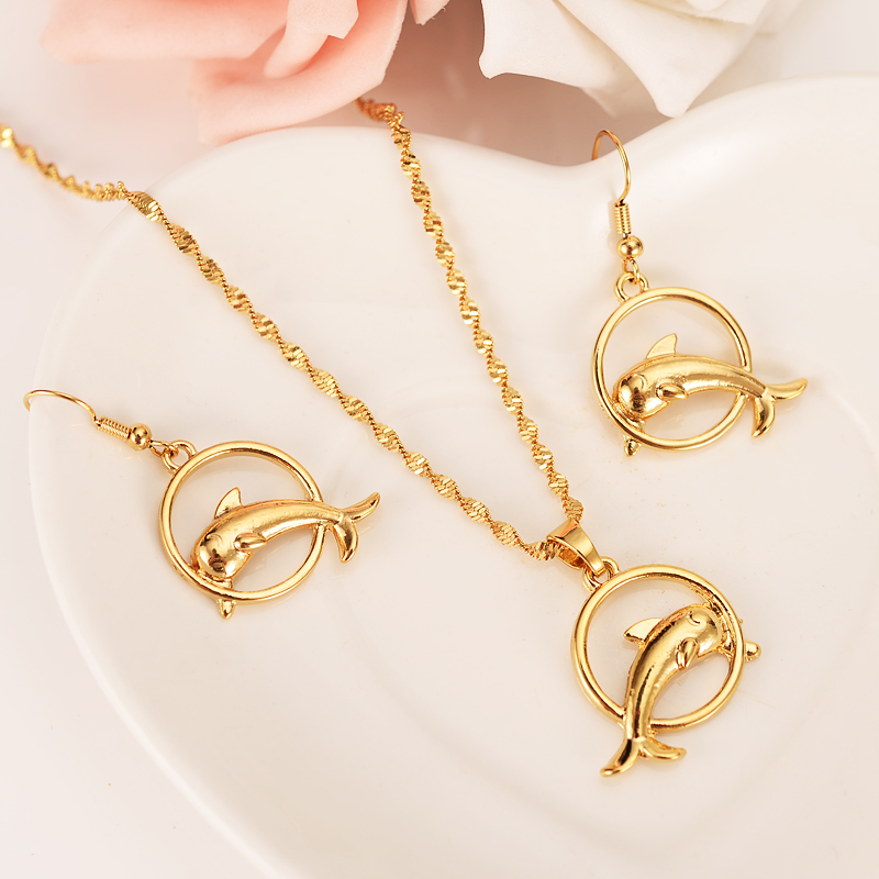 Pendant Necklace Gold-Jewelry-Set Earrings-Sets Bridal Gifts Girls Fashion Women Dolphin