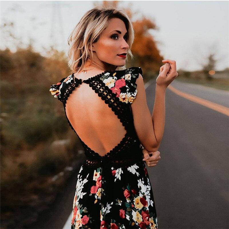 Women Boho Backless Irregular Floral Pinted Dress 2018 Summer Deep V Trim Long  Maxi Dresses Open Back Party Bohemian Vestidos f497570d7f51