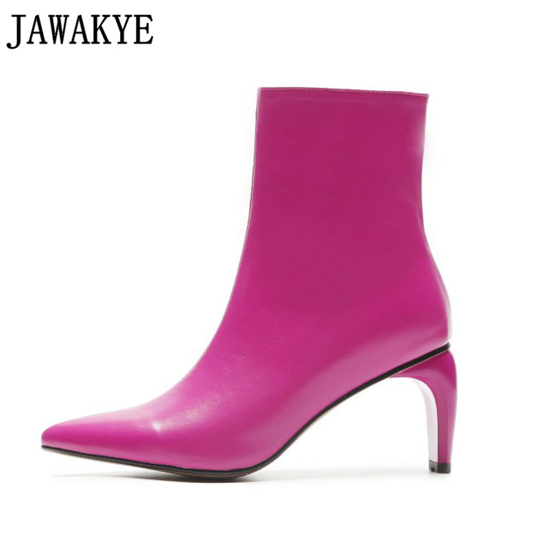 JAWAKYE designer genuine leather Short Boots rose red shoes women pointed toe tobacco pipe high heels Ankle Boots for women xiangban handmade genuine leather women boots high heel ankle boots pointed toe vintage shoes red coffee 6208k11
