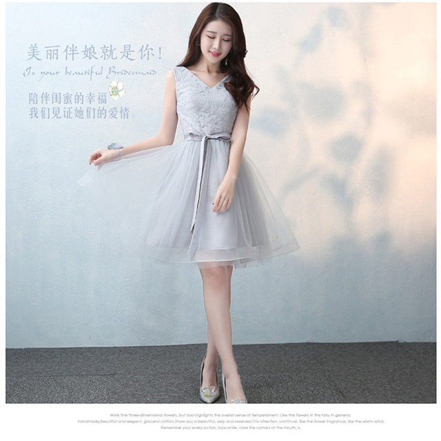 4ff474cae145 SJZL0316S Lace up Shoulders gray new bridesmaid dresses short spring summer  2017 bride toast wedding party down cheap wholesale