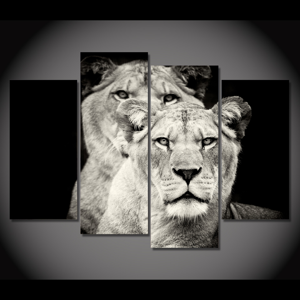 Hd Printed 4pcs Black And White Lion Painting On Canvas Room Decoration Print Poster Picture Framed Free Shipping Ny 5726 In Calligraphy