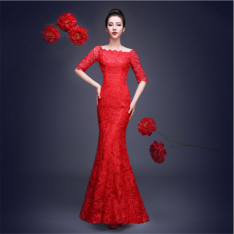 font b Women b font Chinese Cheongsam Summer Long Fishtail Lace Chinese Traditional font b