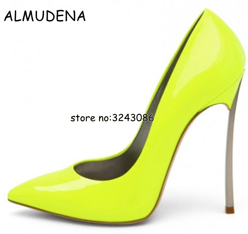 Women Pointed Toe Pumps Blade Metal High Heels Red Beige Stiletto Court Heeled 12 cm Pumps Slip-on Office Lady Shoes newest flock blade heels shoes 2018 pointed toe slip on women platform pumps sexy metal heels wedding party dress shoes