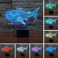 3D Shark Night Light Optical Illusion Table Light Lamp Mood Touch 7 Color For Nursery Home