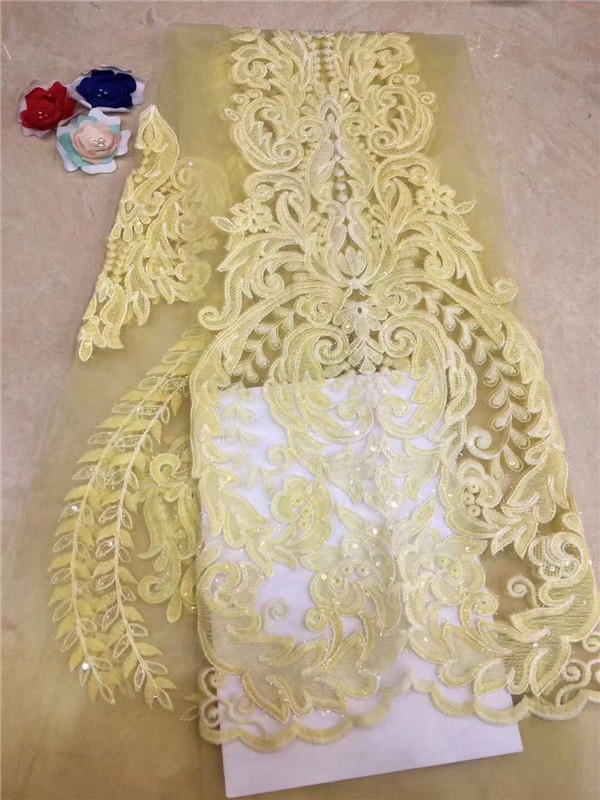 yellow Nigerian Tulle Lace Fabric Fast Shipping African Lace Fabric For Wedding With Feather Embroidery sequins