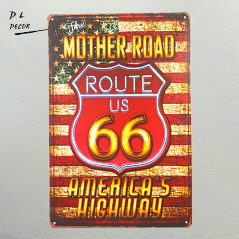 Vintage Tin Signs Route 66 Metal Wall Decor For Home Office Man Cave