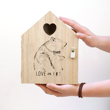 Cute Wall-mounted Key Storage Box Wooden Childrens Room Bedroom Sundries Cabinet Decoration Hanging Wall