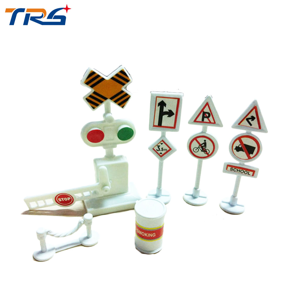 Upgraded version HO scale model train road signs scene sand table construction supplies 6pcs