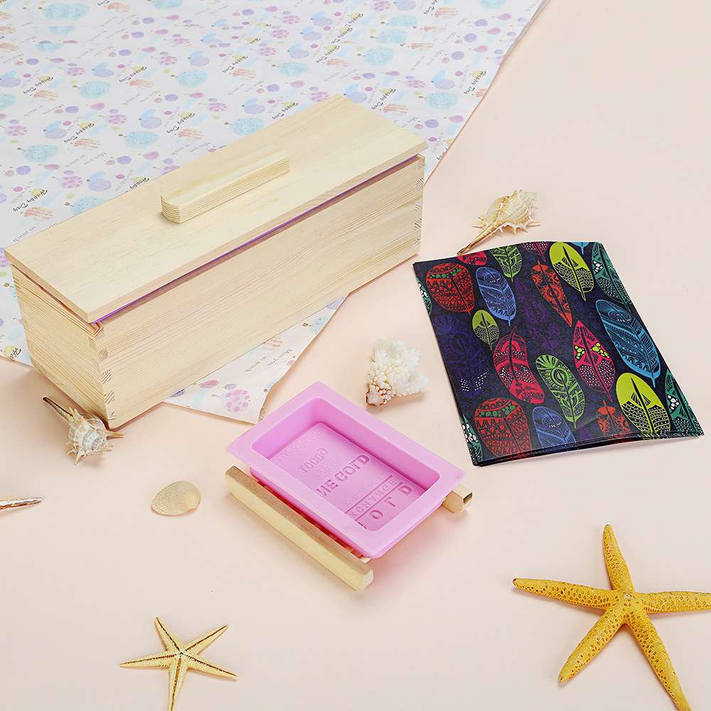 Wooden Silicone Rectangle Bread Toast Soap Mold Set with Slide Cover