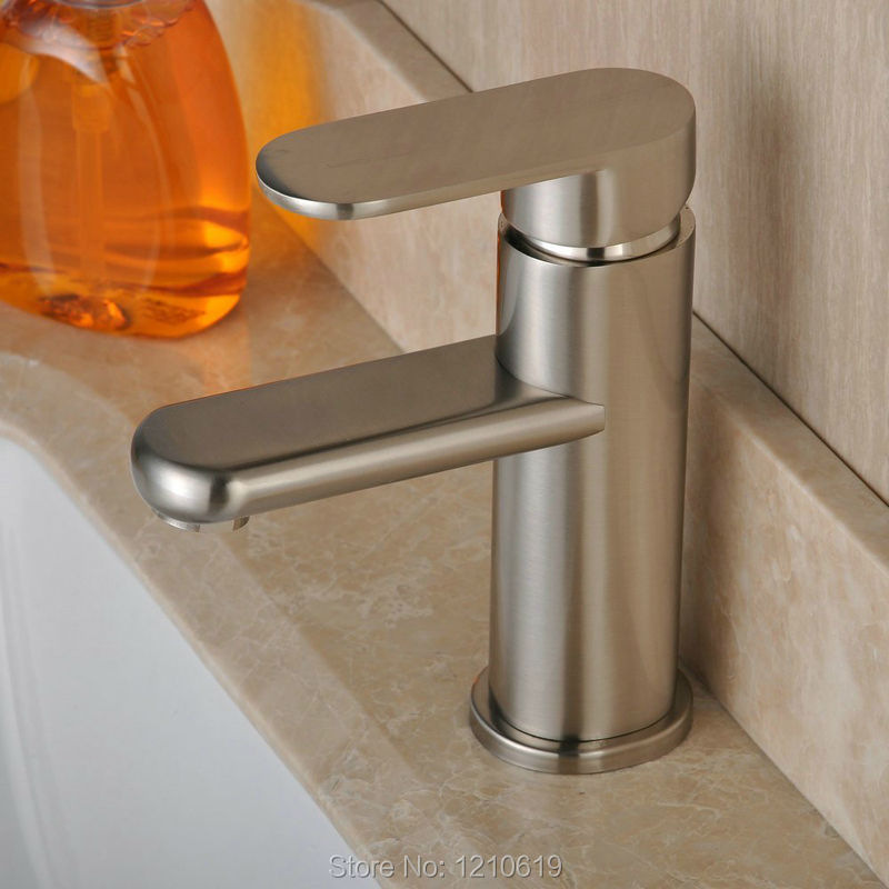 ФОТО New  Arrival Centerset Bathroom Counter Sink Faucet Brushed Nickel Basin Mixer Tap Single Handle