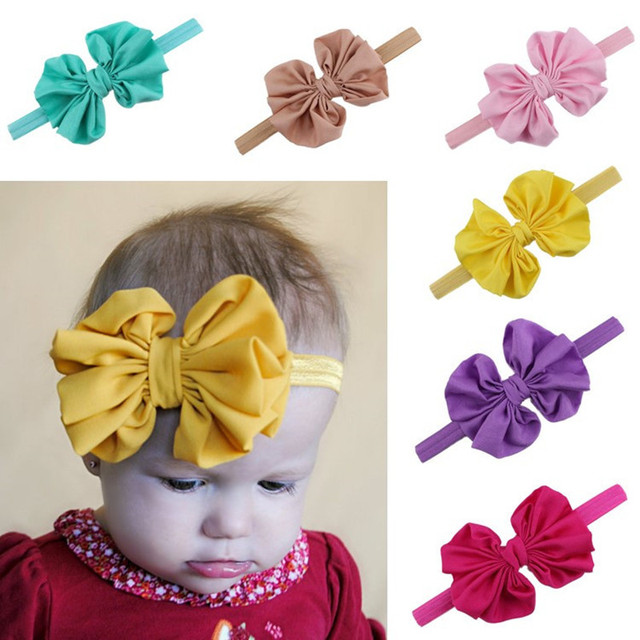 71e279e6e109e 16pcs lot 5Inch Girls Big Bow Headband Chiffon Bowknot Elastic Hair Bands  Turban Kids Flower Headband Hair Bow