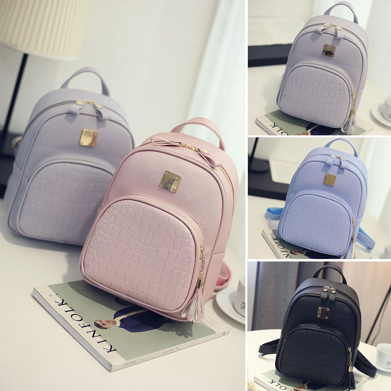 2018 New Brand Fashion Women Ladies PU Backpacks Solid Zipper Travelling Bag Girls School Bag 4 Colors