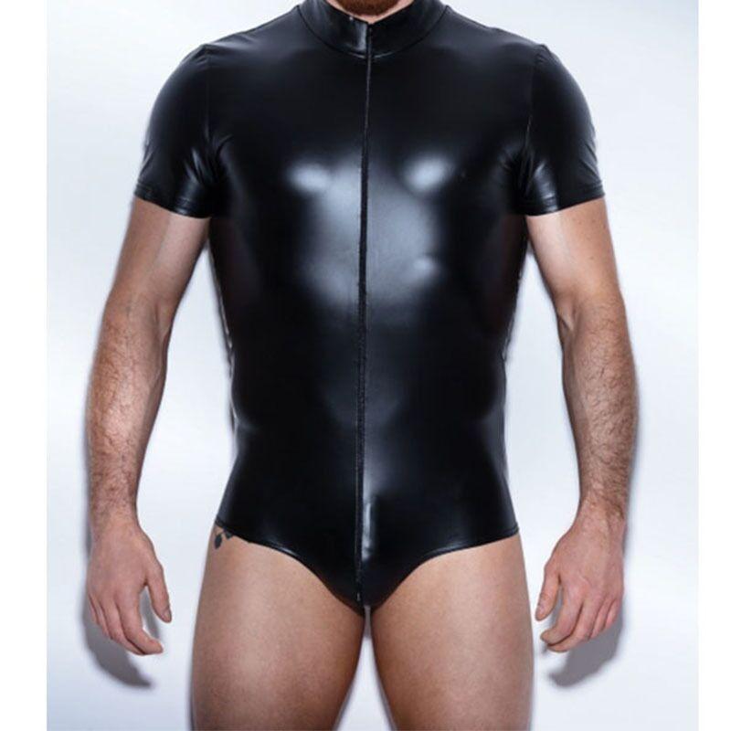 New Sexy Men Thick High Elasticity PU Faux Leather Vest Zipper Open Crotch Mens Bodysuit Tank Top Night Club Dance Gay Wear XXL