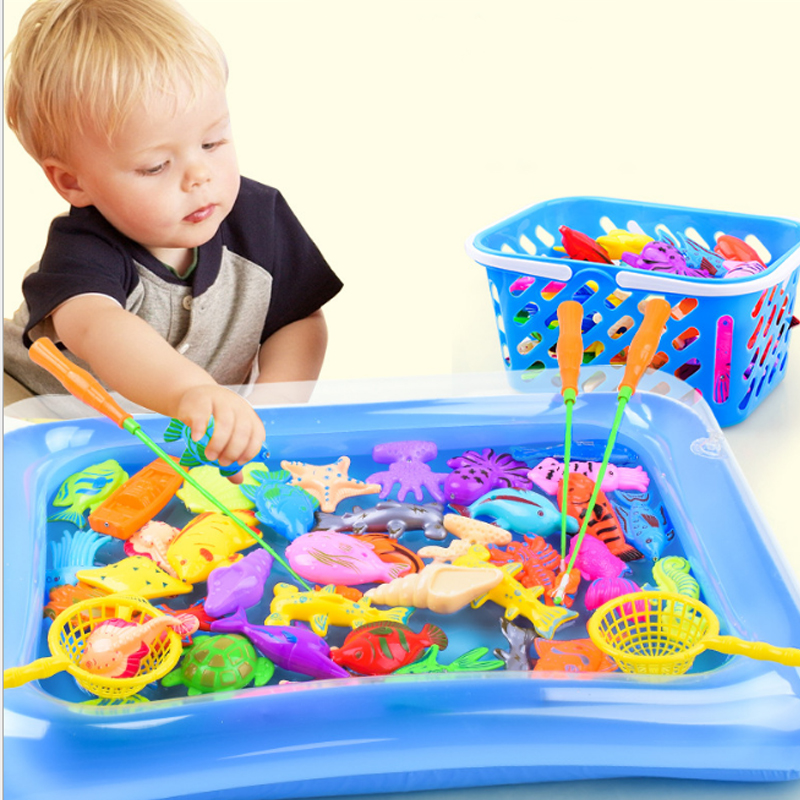 32pcs 47pcs/lot Magnetic Fishing Toy Inflatable Pool Rod Net Set For Kids Child Model Play Outdoor Fishing Game Plastic Fish Toy