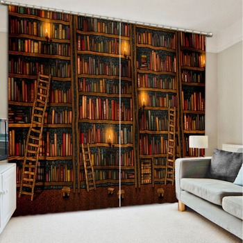 custom 3d cortinas Retro bookshelves 3d living room curtains 3d window curtains kitchen door curtains living room