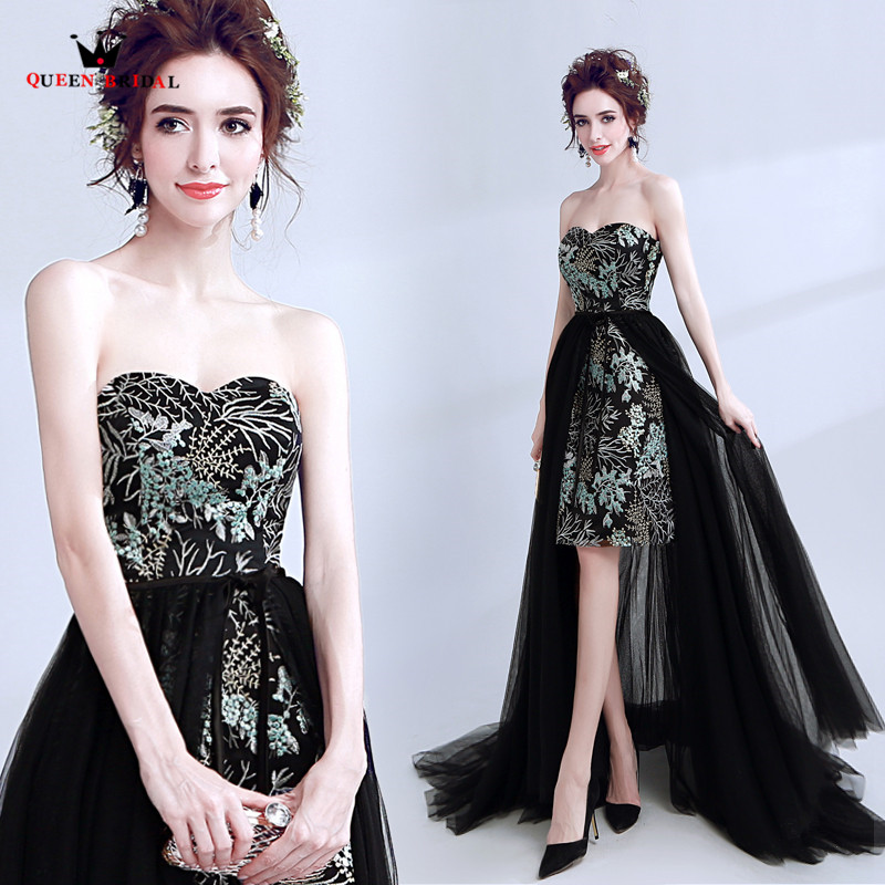 QUEEN BRIDAL 2018 New   Evening     Dresses   High Low Short Lace Detachable Skirt Sexy Elegant Prom Party   Dress   Vestido De Festa LS07