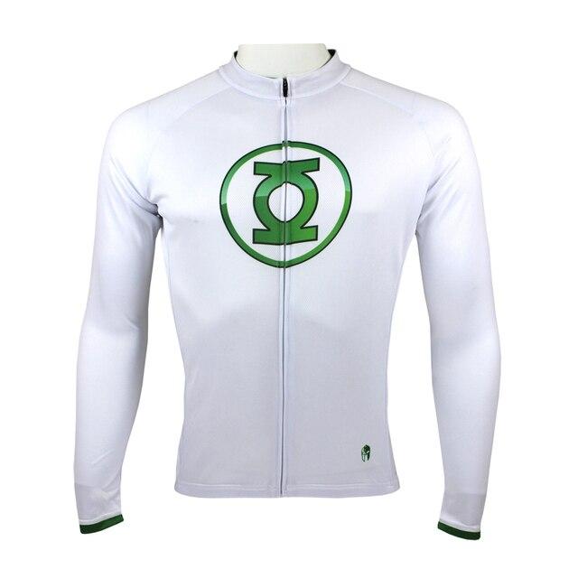 Quick Dry Superhero Green Lantern Man Cycling Jerseys long sleeve White bike  jersey xxxl large size mans sports jersey 33bcd933d