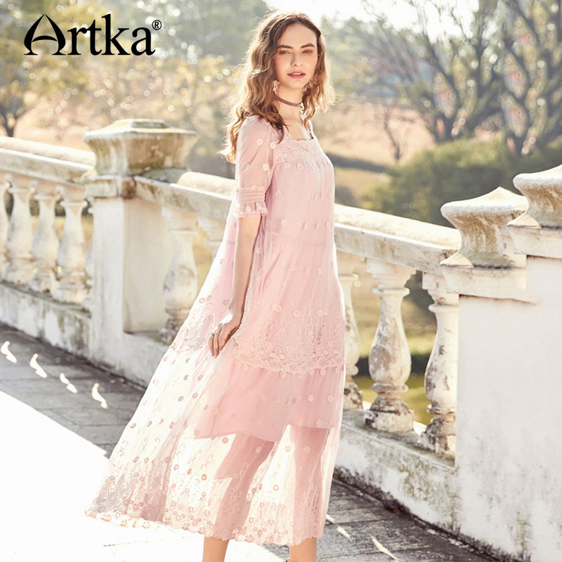 ARTKA 2018 été broderie vague fleur ourlet à manches courtes lâche taille élégante maille longue robe LA10888X-in Robes from Mode Femme et Accessoires    1