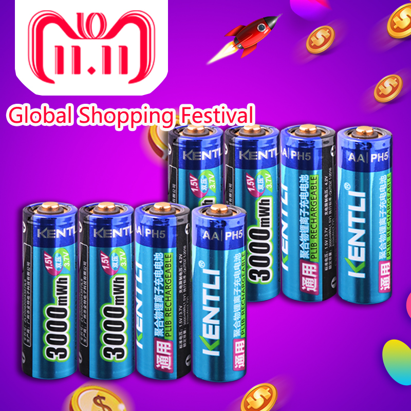 KENTLI 8pcs Stable voltage 3000mWh AA batteries 1.5V rechargeable aa battery lithium polymer battery for camera ect kentli 8pcs stable voltage 3000mwh aa batteries 1 5v rechargeable aa battery lithium polymer battery for camera ect