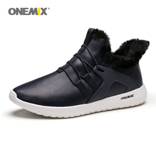 ONEMIX Men Running Shoes Black leather Warm Winter Sneakers Slip On Comfortable Outdoor jogging Walking