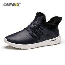 ONEMIX hommes baskets décontracté fourrure doublé hiver neige bottes cheville-haute chaud imperméable confortable noir Sport chaussures résistance au froid