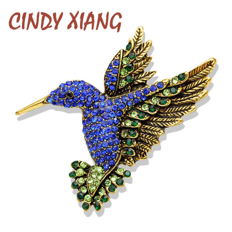 Cindy Xiang Baru Warna Blue Rhinestone Hummingbird Bros untuk Wanita Vintage Fashion Hewan Pin Kualitas Tinggi Hadiah