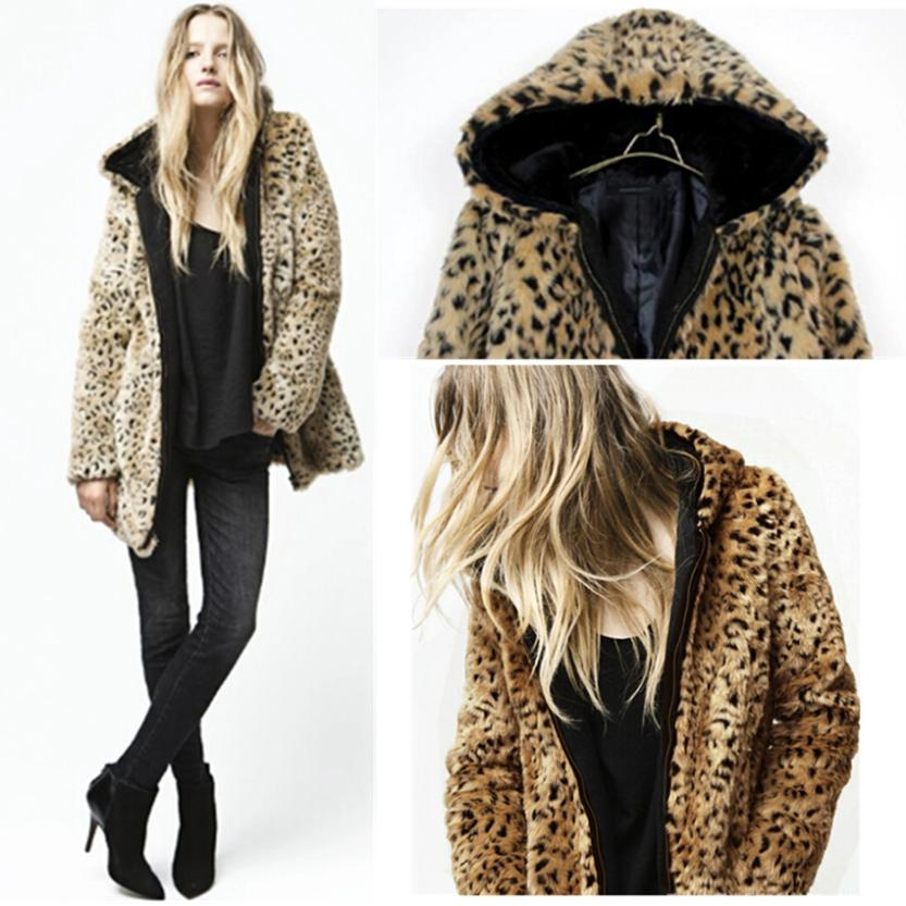 Online Shop Women's Leopard Print Faux Fur Coat With Hat Zipper ...
