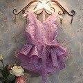 Hot Sale High Grade Elegant Plaid V Neck Sleeveless Girls Outfit Summer Children's Sweet Pretty Set